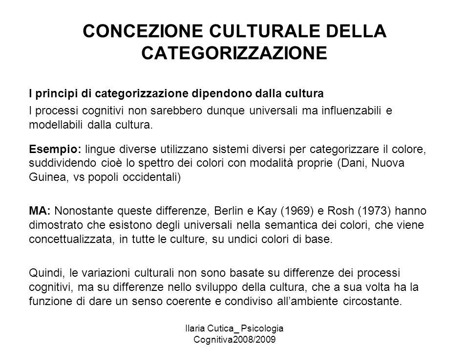 CONCEZIONE CULTURALE DELLA CATEGORIZZAZIONE