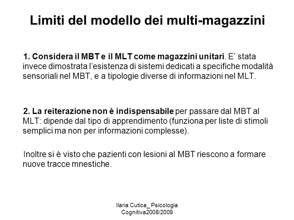Limiti del modello dei multi-magazzini