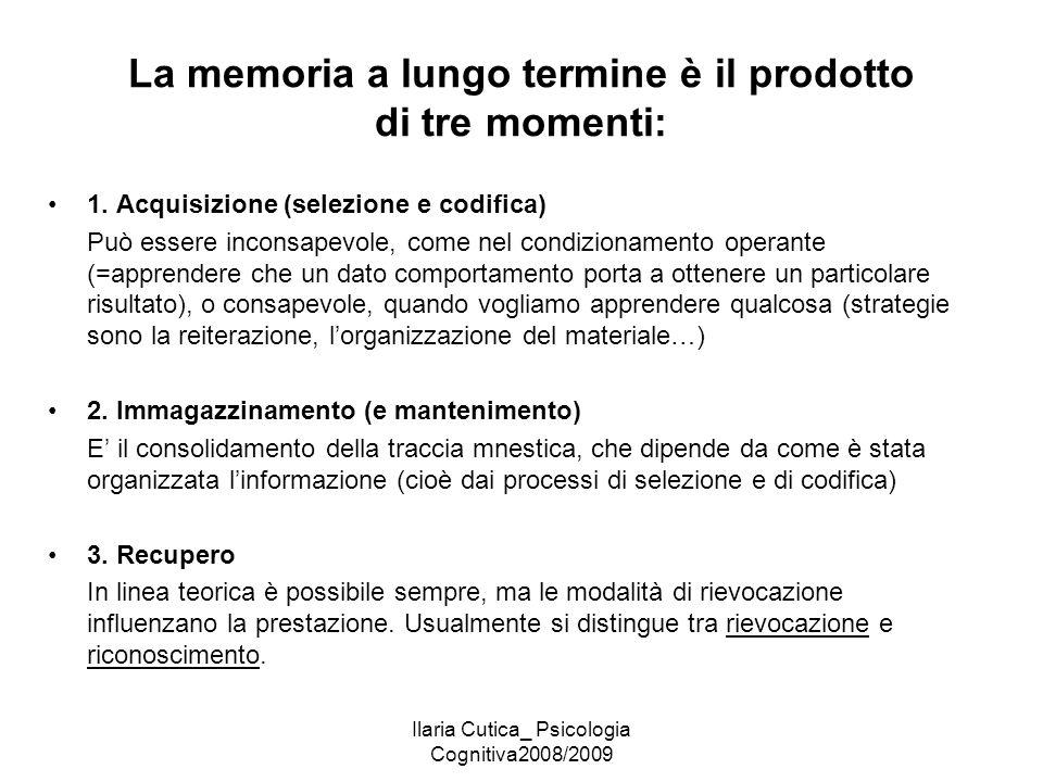 La memoria a lungo termine è il prodotto di tre momenti:
