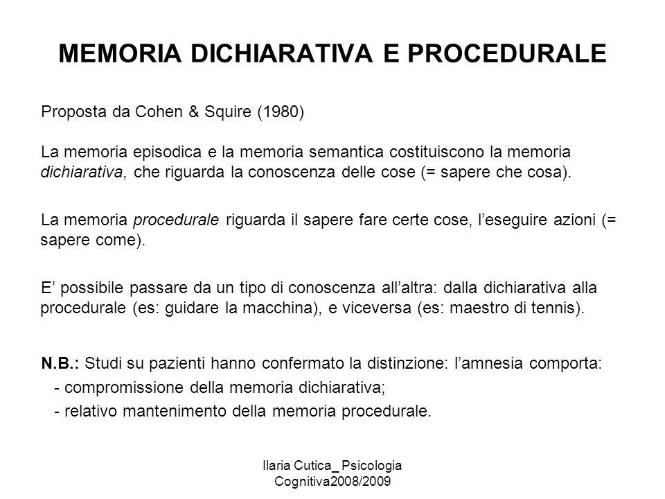 MEMORIA DICHIARATIVA E PROCEDURALE