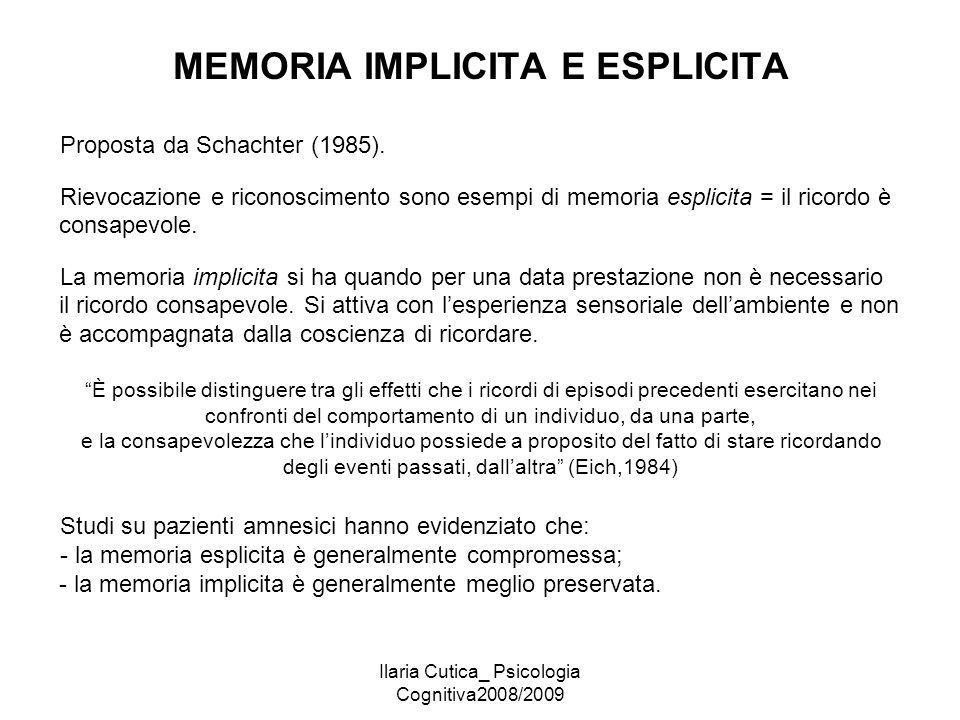 MEMORIA IMPLICITA E ESPLICITA
