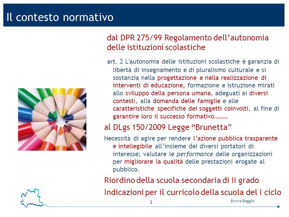 Il contesto normativo dal DPR 275/99 Regolamento dell'autonomia delle istituzioni scolastiche.