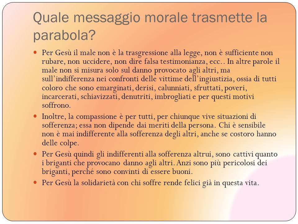 Quale messaggio morale trasmette la parabola