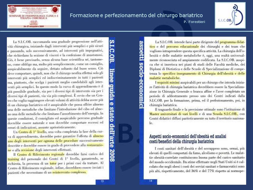 Formazione e perfezionamento del chirurgo bariatrico