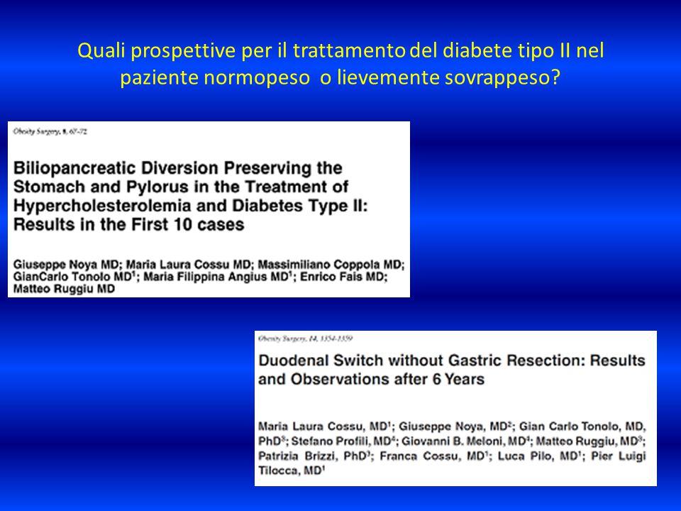 Quali prospettive per il trattamento del diabete tipo II nel paziente normopeso o lievemente sovrappeso