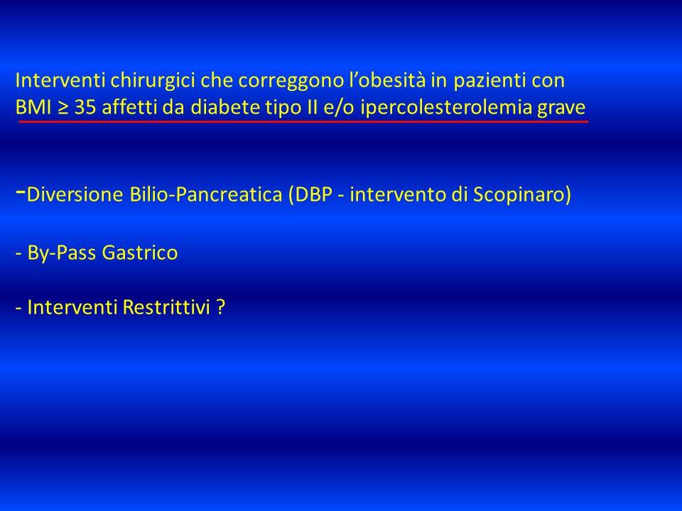 Interventi chirurgici che correggono l'obesità in pazienti con BMI ≥ 35 affetti da diabete tipo II e/o ipercolesterolemia grave -Diversione Bilio-Pancreatica (DBP - intervento di Scopinaro) - By-Pass Gastrico - Interventi Restrittivi