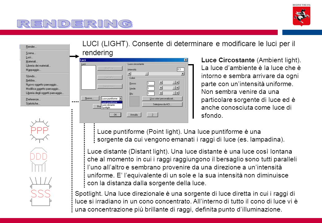 RENDERING LUCI (LIGHT). Consente di determinare e modificare le luci per il rendering.
