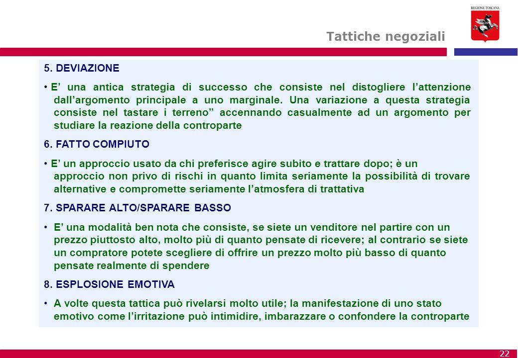 Tattiche negoziali 5. DEVIAZIONE