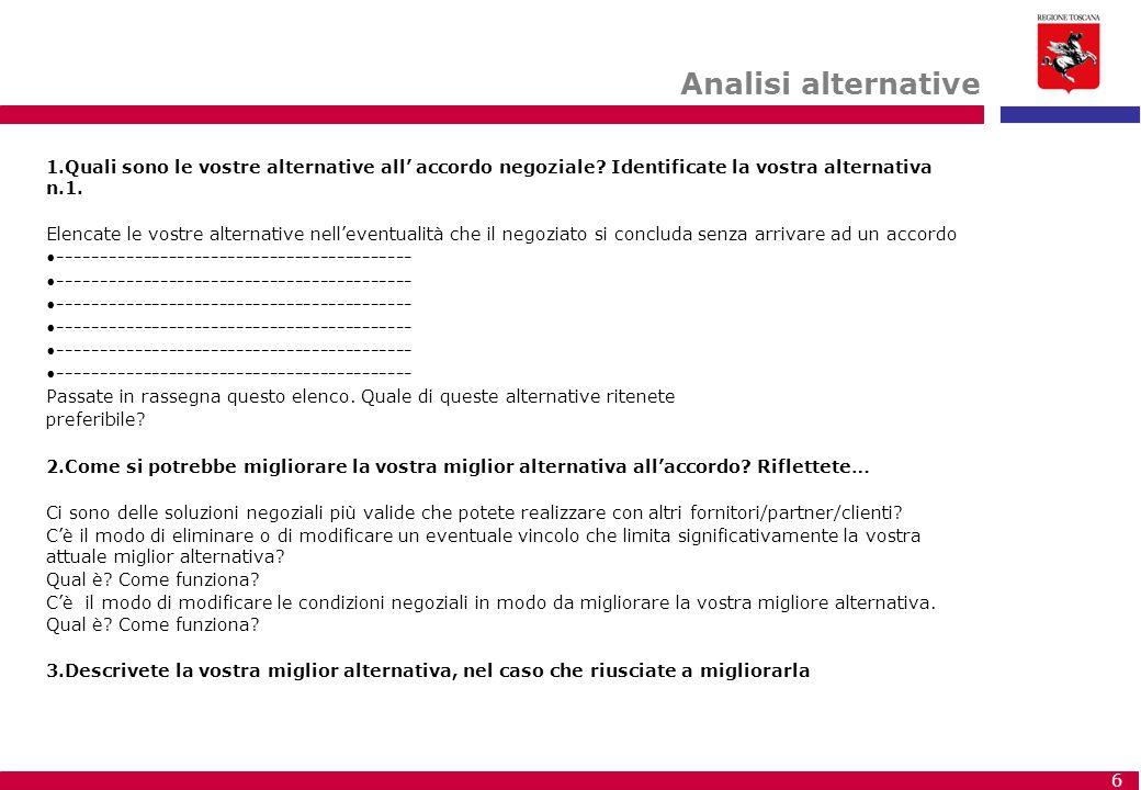 Analisi alternative Quali sono le vostre alternative all' accordo negoziale Identificate la vostra alternativa n.1.