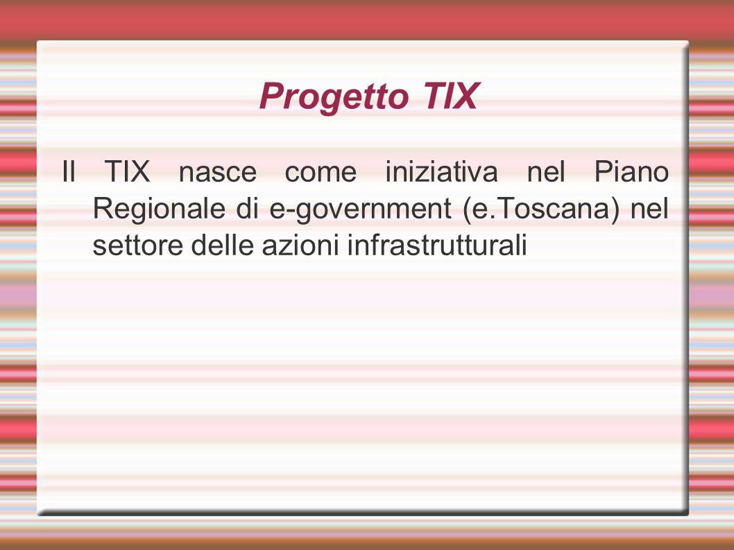 Progetto TIX Il TIX nasce come iniziativa nel Piano Regionale di e-government (e.Toscana) nel settore delle azioni infrastrutturali.