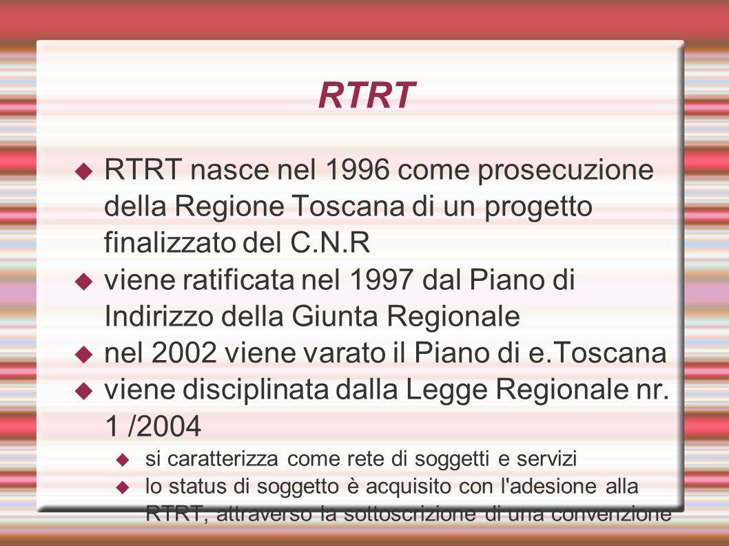 RTRT RTRT nasce nel 1996 come prosecuzione della Regione Toscana di un progetto finalizzato del C.N.R.