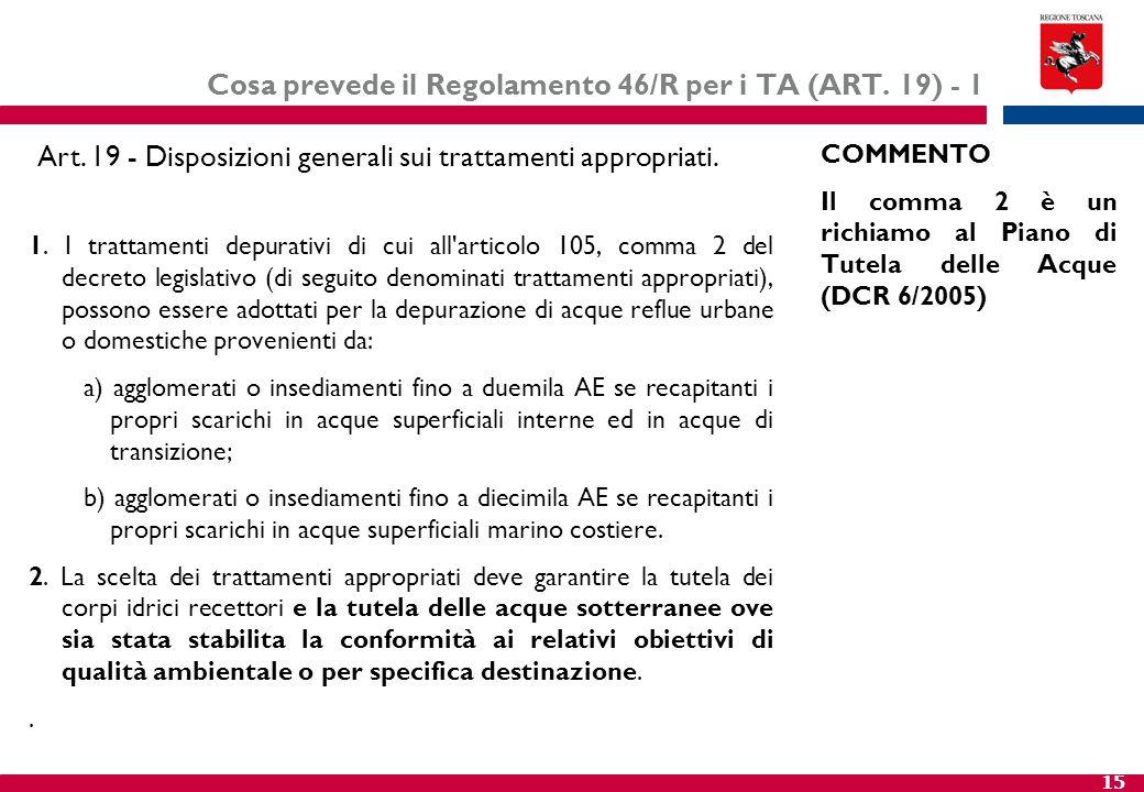 Cosa prevede il Regolamento 46/R per i TA (ART. 19) - 1
