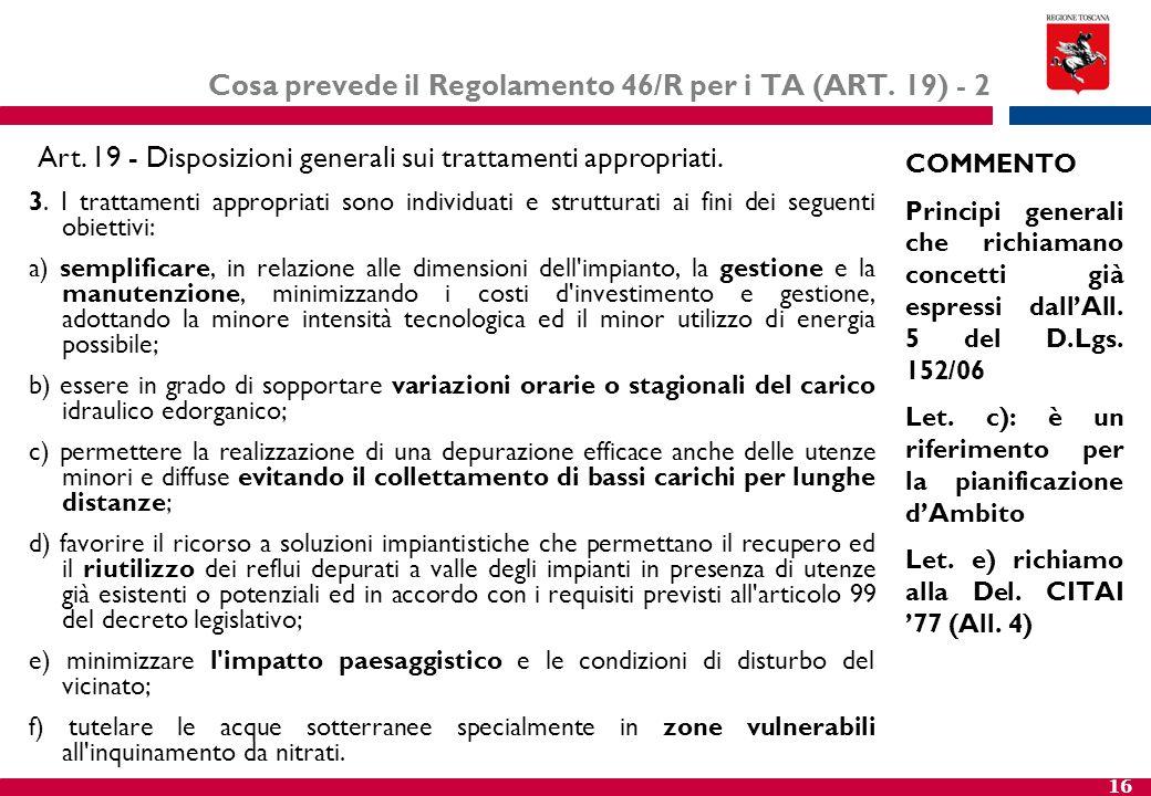 Cosa prevede il Regolamento 46/R per i TA (ART. 19) - 2