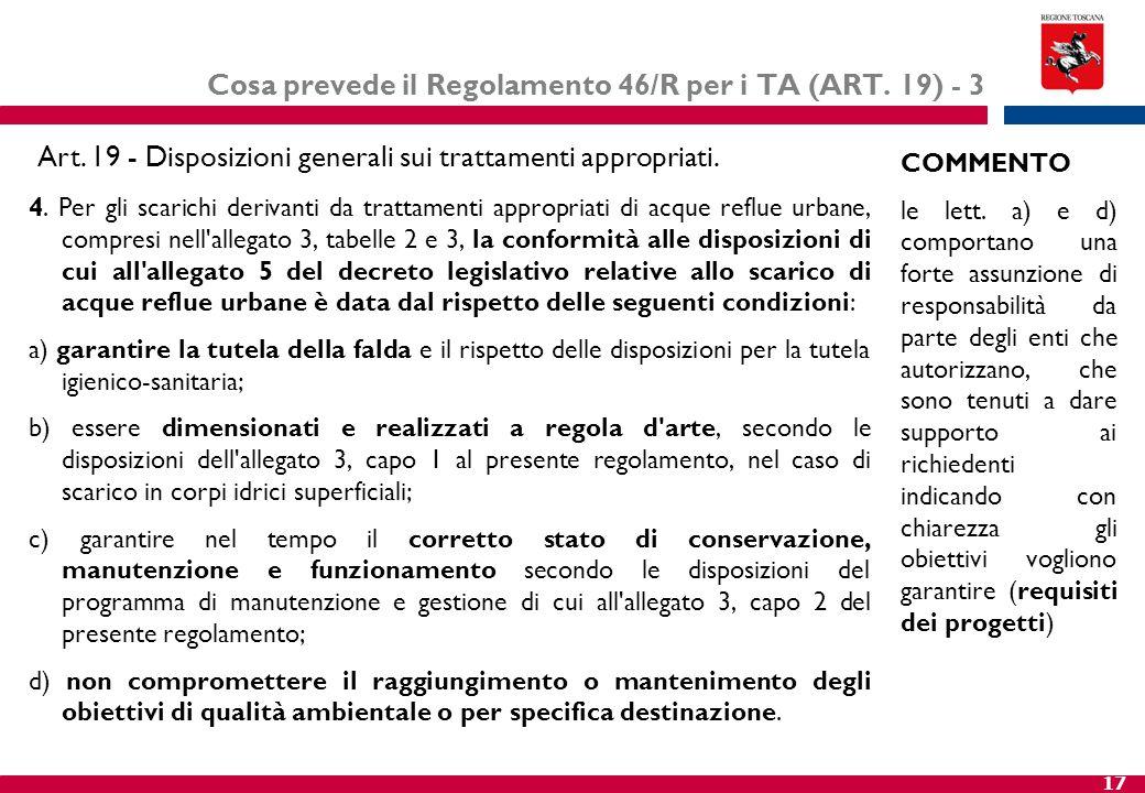 Cosa prevede il Regolamento 46/R per i TA (ART. 19) - 3
