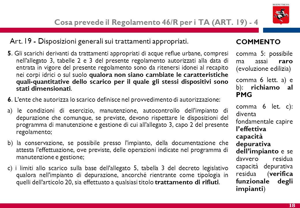 Cosa prevede il Regolamento 46/R per i TA (ART. 19) - 4
