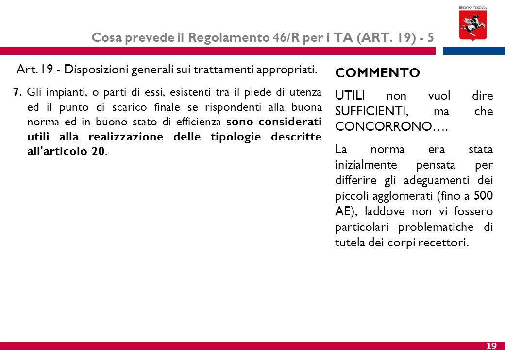 Cosa prevede il Regolamento 46/R per i TA (ART. 19) - 5