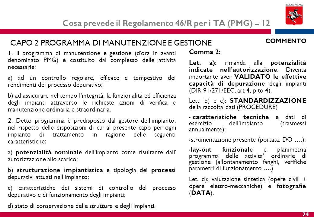 Cosa prevede il Regolamento 46/R per i TA (PMG) – 12