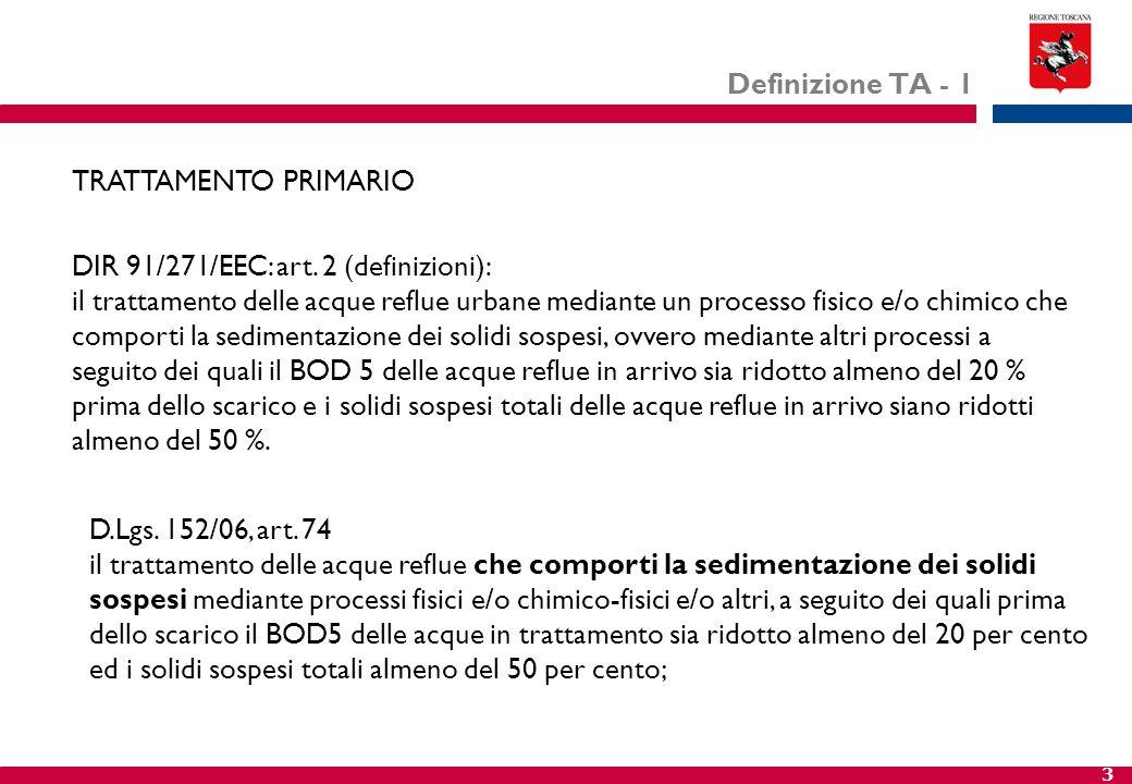 Definizione TA - 1 TRATTAMENTO PRIMARIO. DIR 91/271/EEC: art. 2 (definizioni):