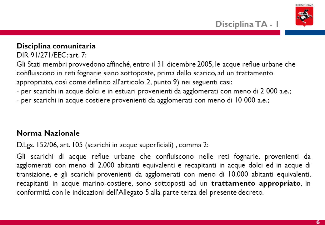Disciplina TA - 1 Disciplina comunitaria DIR 91/271/EEC: art. 7: