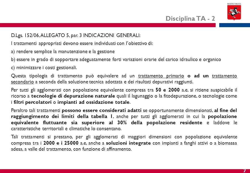 Disciplina TA - 2 D.Lgs. 152/06, ALLEGATO 5, par. 3 INDICAZIONI GENERALI: I trattamenti appropriati devono essere individuati con l'obiettivo di: