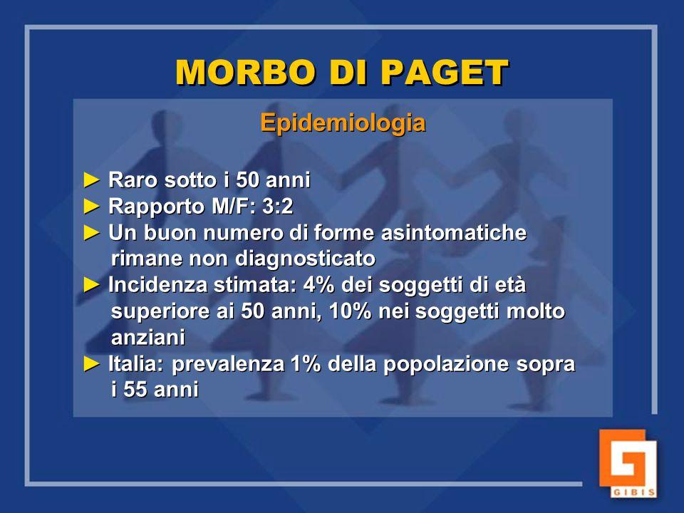 MORBO DI PAGET Epidemiologia Raro sotto i 50 anni Rapporto M/F: 3:2