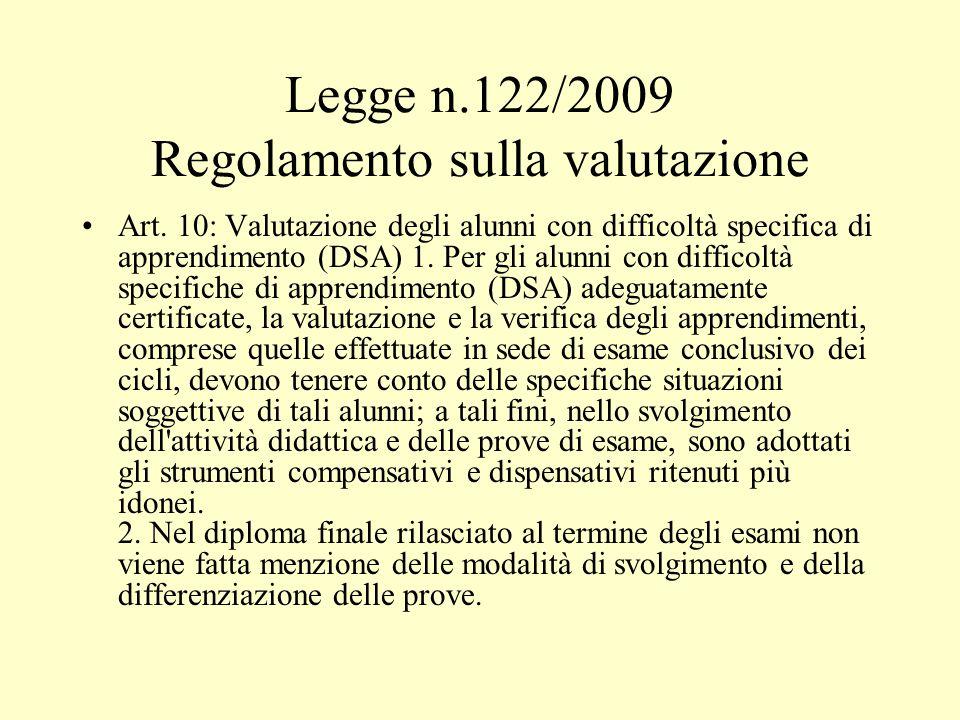 Legge n.122/2009 Regolamento sulla valutazione