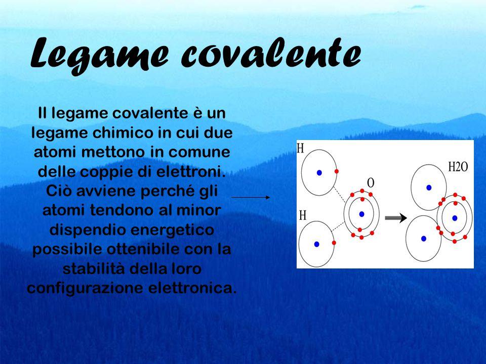 Legame covalente Il legame covalente è un legame chimico in cui due atomi mettono in comune delle coppie di elettroni.