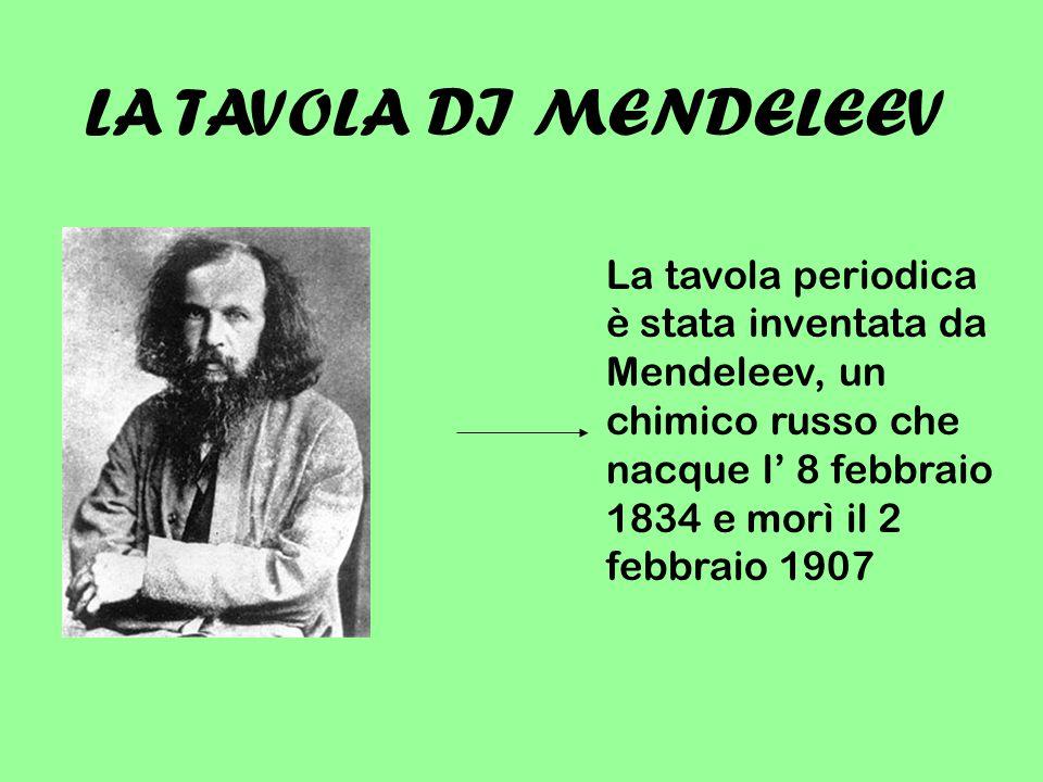 LA TAVOLA DI MENDELEEV La tavola periodica è stata inventata da Mendeleev, un chimico russo che nacque l' 8 febbraio 1834 e morì il 2 febbraio 1907.