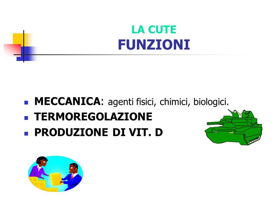 LA CUTE FUNZIONI MECCANICA: agenti fisici, chimici, biologici.