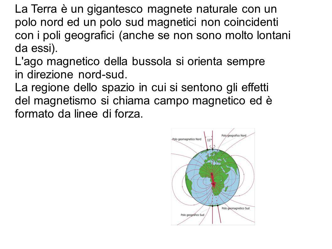La Terra è un gigantesco magnete naturale con un polo nord ed un polo sud magnetici non coincidenti con i poli geografici (anche se non sono molto lontani