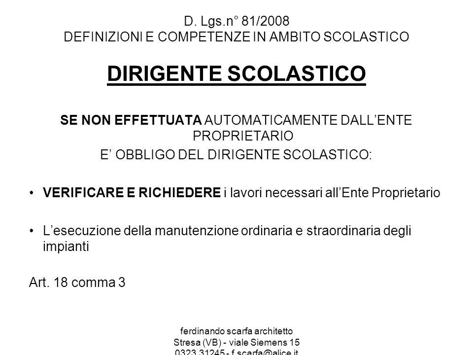 D. Lgs.n° 81/2008 DEFINIZIONI E COMPETENZE IN AMBITO SCOLASTICO
