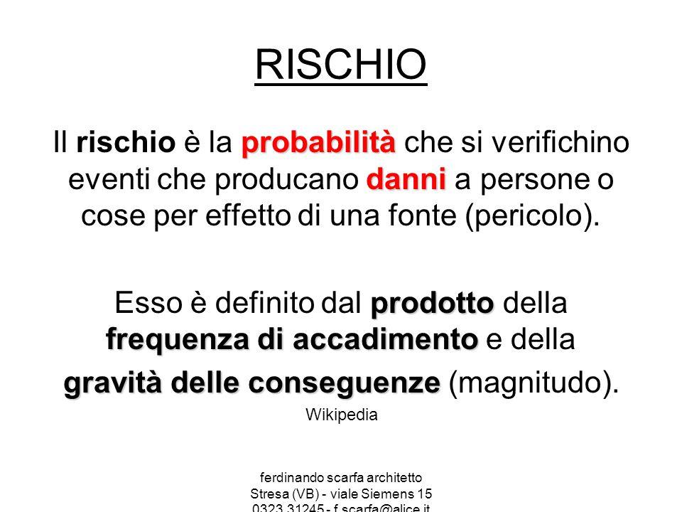 RISCHIO Il rischio è la probabilità che si verifichino eventi che producano danni a persone o cose per effetto di una fonte (pericolo).