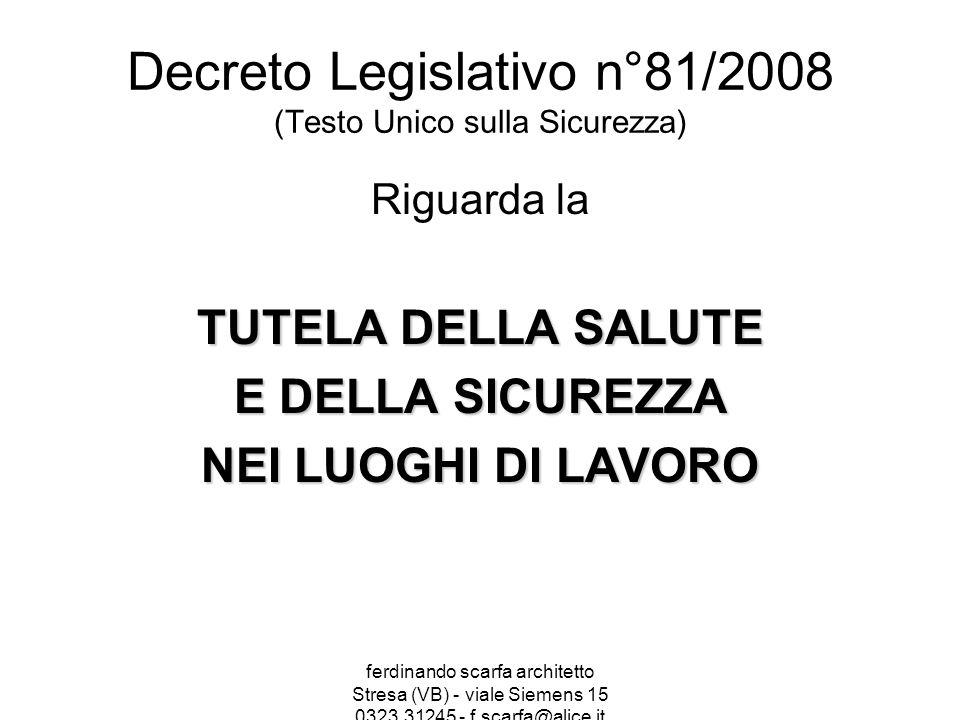 Decreto Legislativo n°81/2008 (Testo Unico sulla Sicurezza)