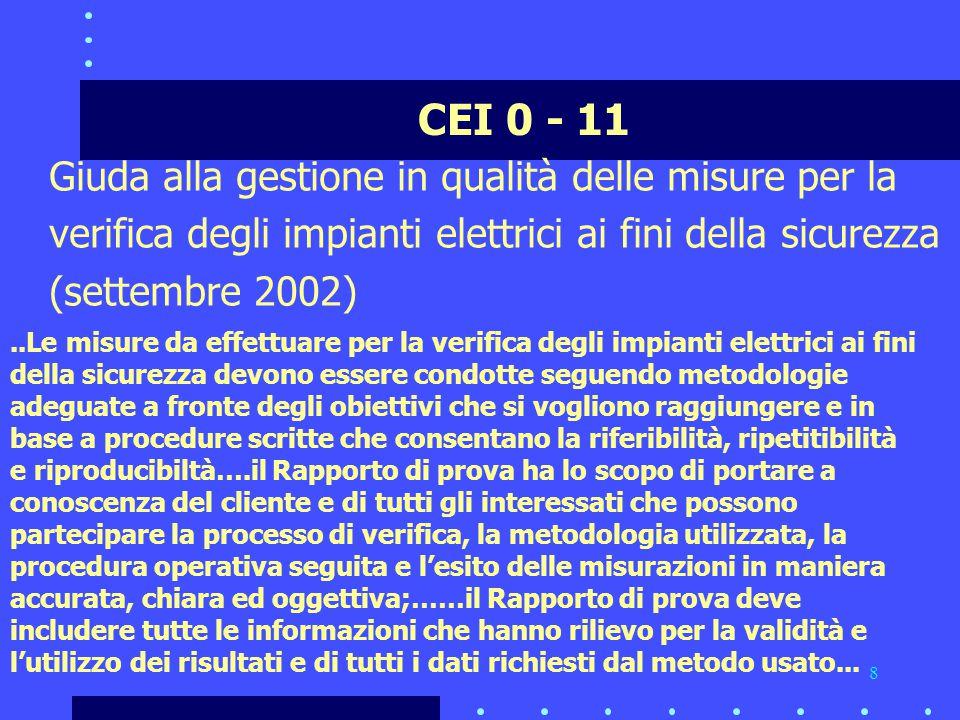 CEI 0 - 11 Giuda alla gestione in qualità delle misure per la