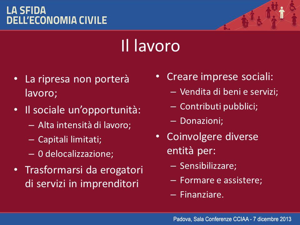 Il lavoro Creare imprese sociali: La ripresa non porterà lavoro;