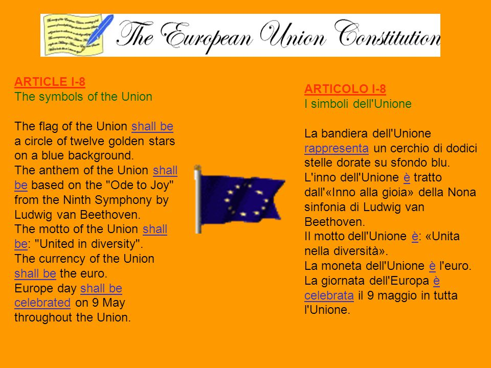 ARTICLE I-8 The symbols of the Union. The flag of the Union shall be a circle of twelve golden stars on a blue background.