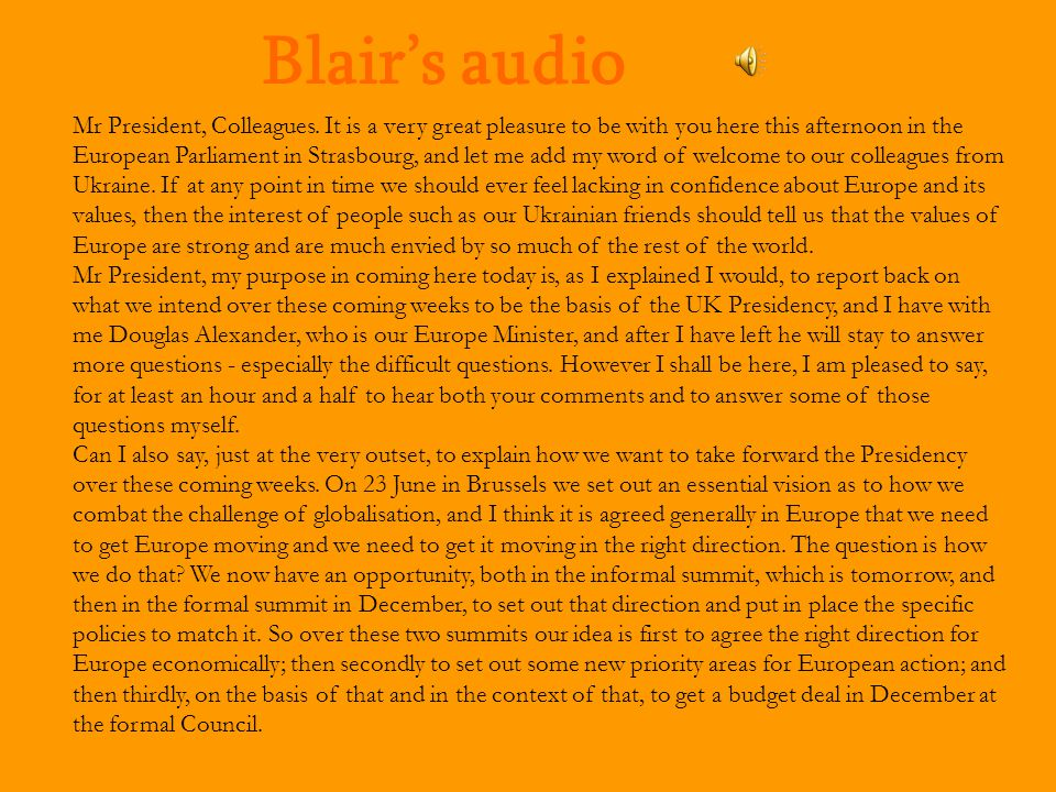 Blair's audio