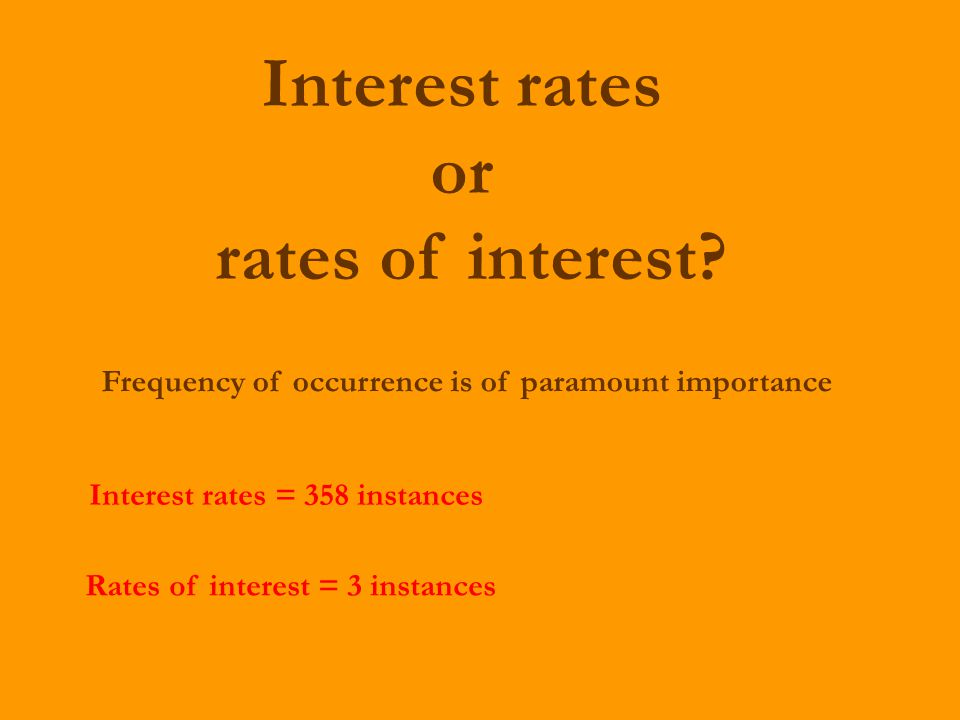 Interest rates or rates of interest