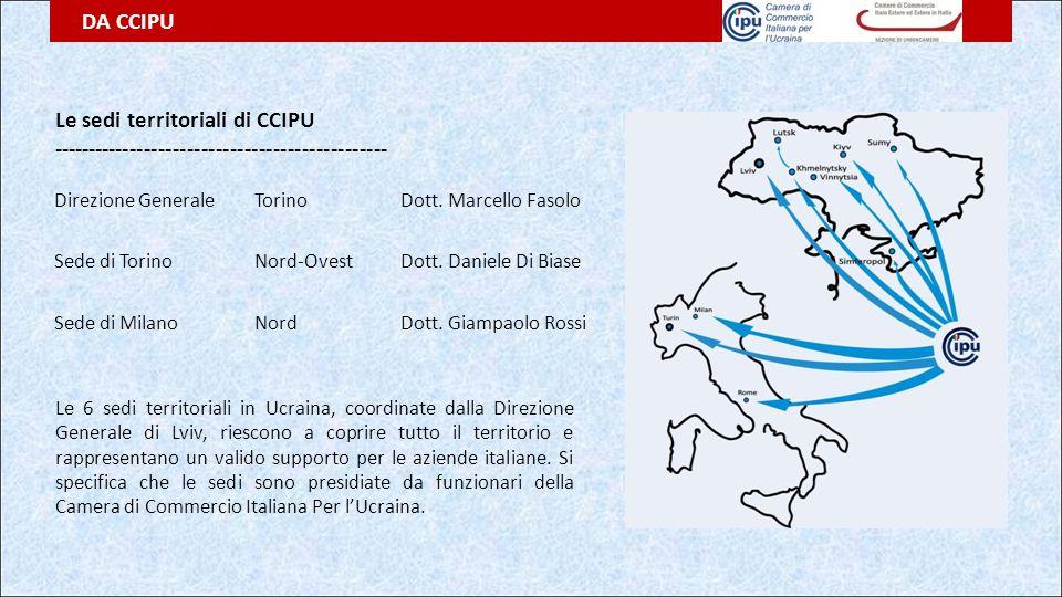 Le sedi territoriali di CCIPU