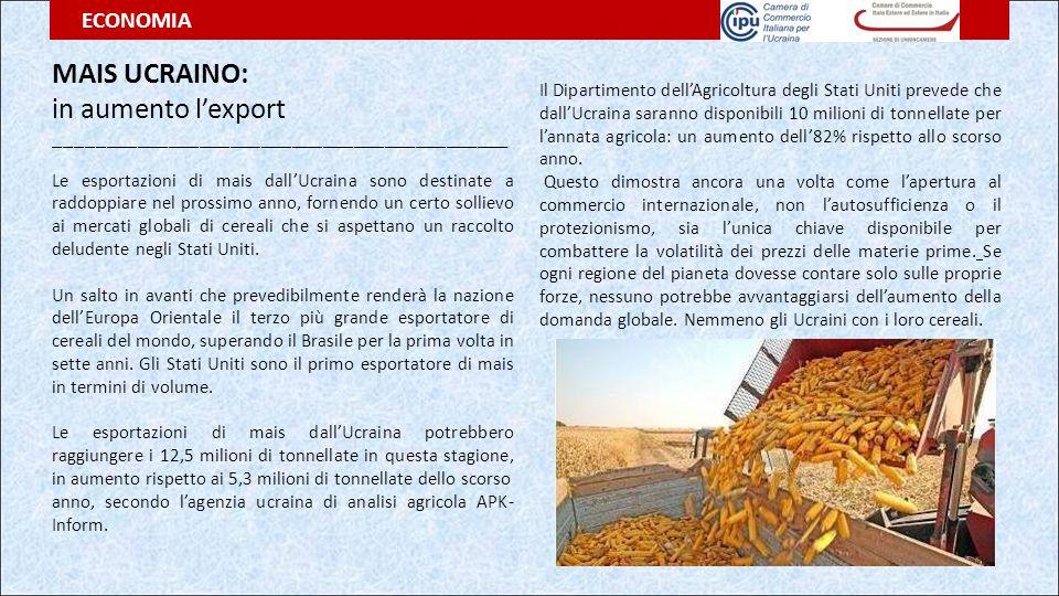 MAIS UCRAINO: in aumento l'export ECONOMIA