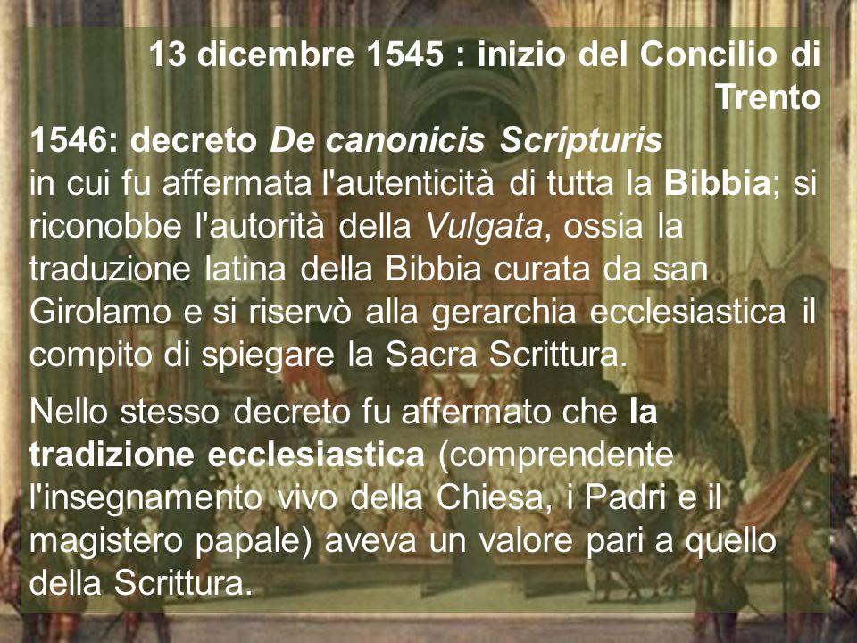 13 dicembre 1545 : inizio del Concilio di Trento