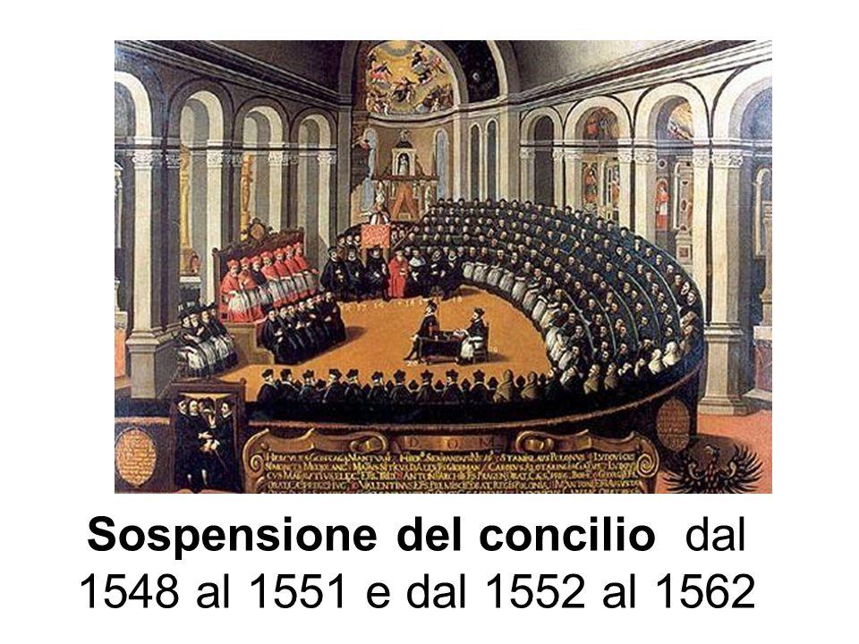 Sospensione del concilio dal 1548 al 1551 e dal 1552 al 1562