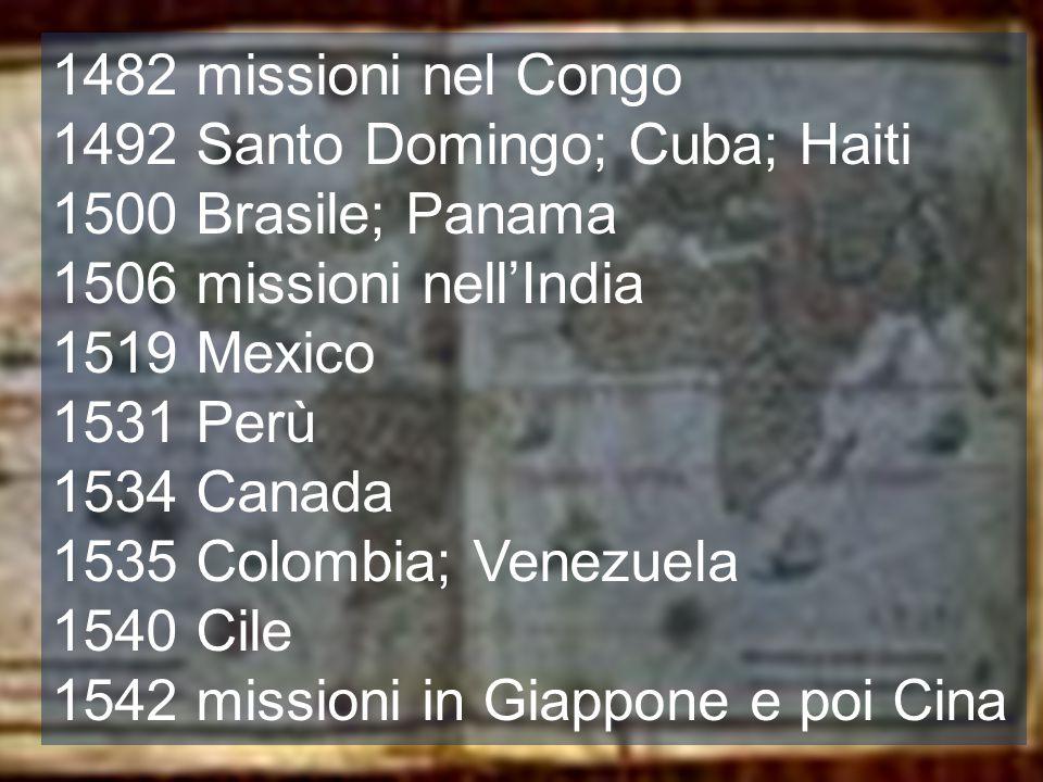 1492 Santo Domingo; Cuba; Haiti 1500 Brasile; Panama