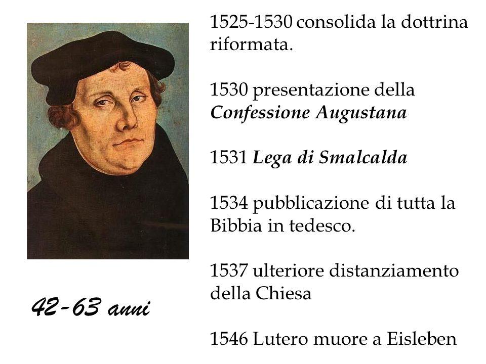 42-63 anni 1525-1530 consolida la dottrina riformata.