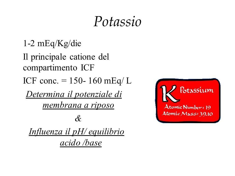 Potassio 1-2 mEq/Kg/die Il principale catione del compartimento ICF