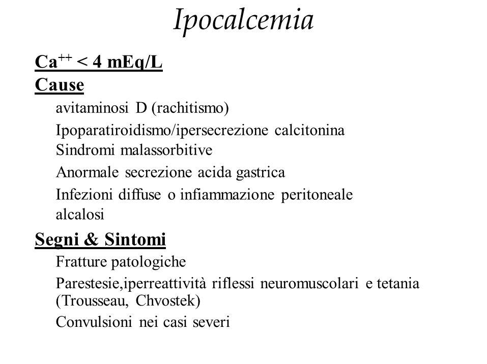 Ipocalcemia Ca++ < 4 mEq/L Cause Segni & Sintomi