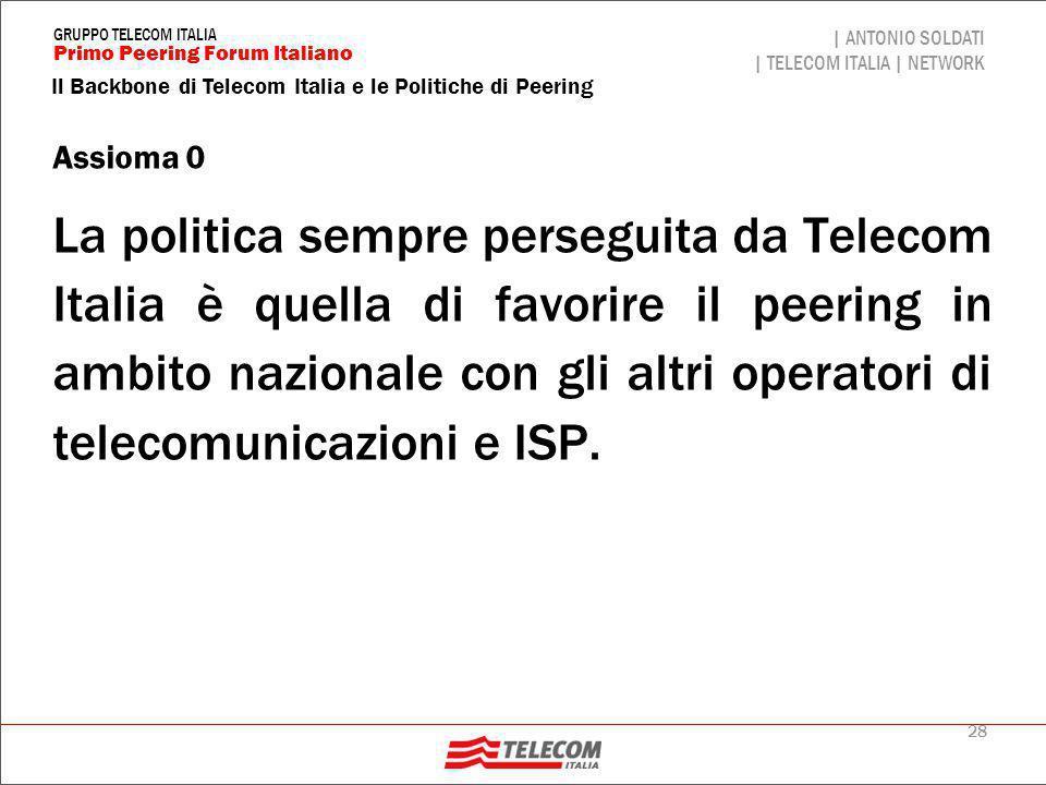 Presenza Telecom Italia è presente in tutti i NAP italiani