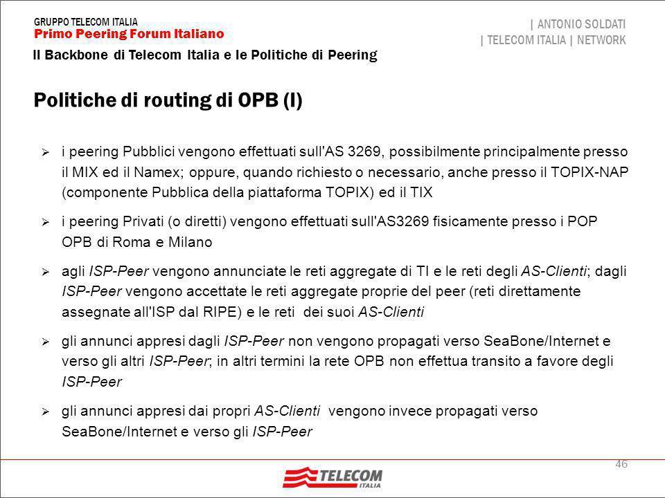 Politiche di routing di OPB (II)