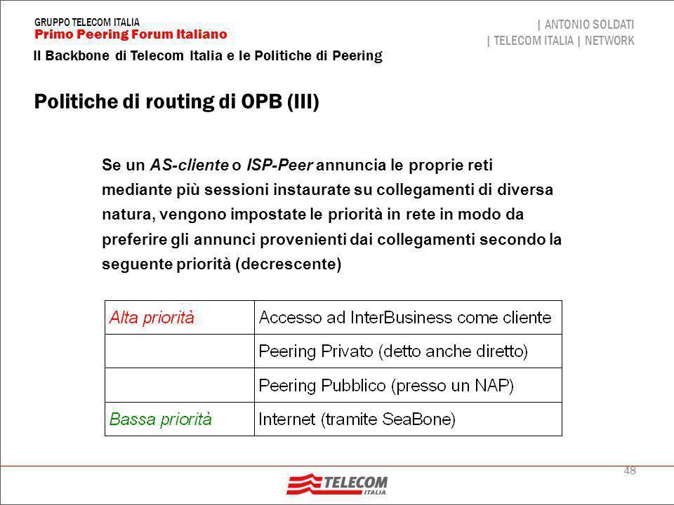 Politiche di routing di OPB (IV)
