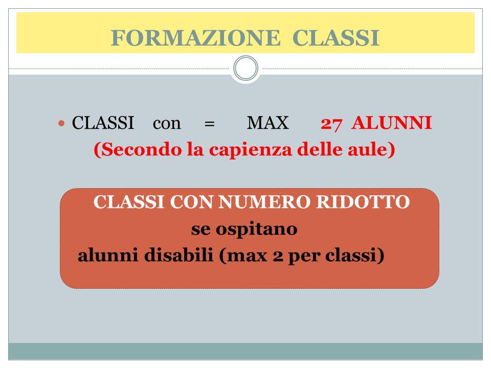 (Secondo la capienza delle aule) CLASSI CON NUMERO RIDOTTO